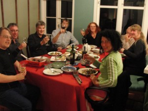 Above: At dinner, Jim Byrt, Paul Moss, Keith Woodley, Annie Wilson, Sean Wilson, Ruth Irwin, Maria Heidemann, Trudy Lane. (By disciplinary descriptors: Animator, Lepidopterist, Amateur Astronomer, Shorebird Centre Manager, Orchardist, Engineer, Philosopher, Stiltwalker, Artist/Curator)